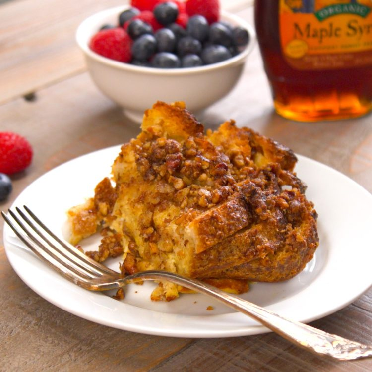 french toast bake plated berries
