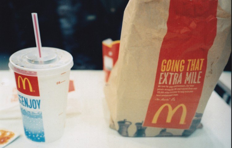 view of McDonald's drink and to-go bag