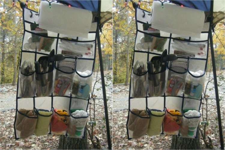 Use a hanging shoe organizer to organize camping cooking tools