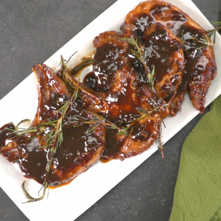 overhead-honey-balsamic-glazed-pork-chops