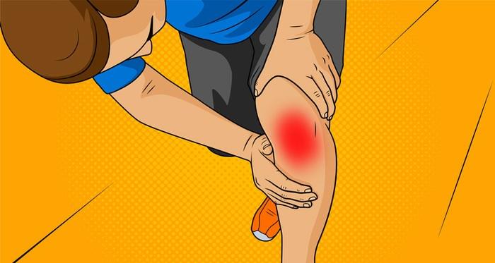 Illustration of pain in knee or leg