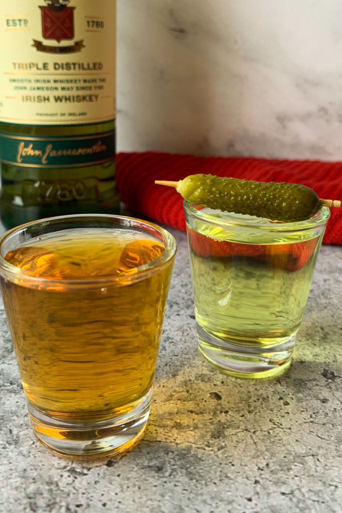Pickleback Shot with red