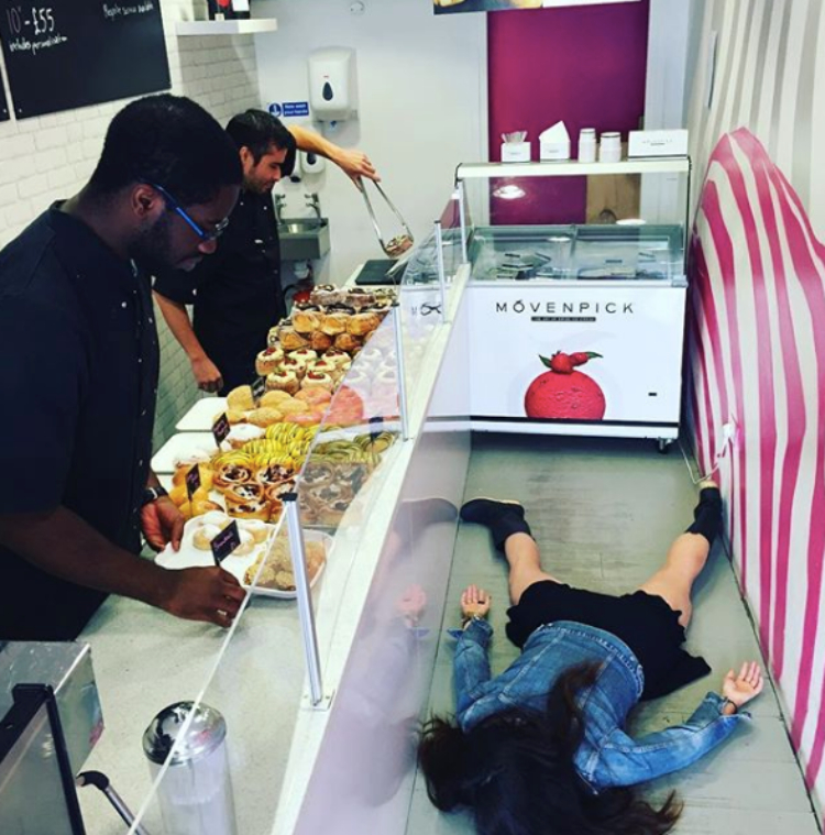 Image of stef dying in donut shop
