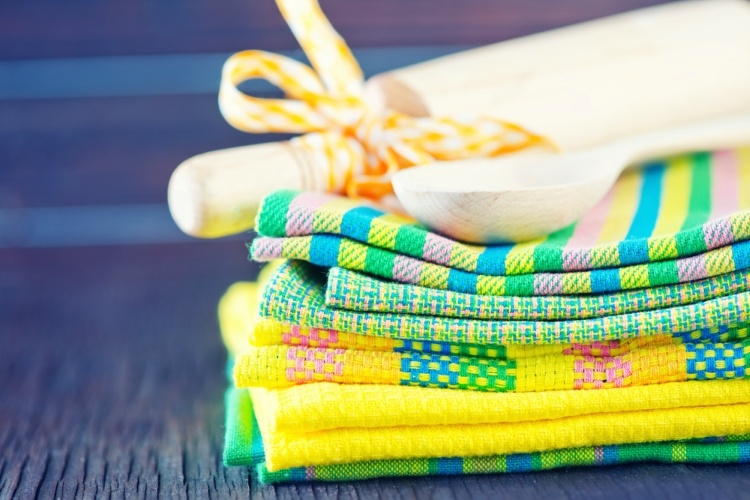 Stack of bright kitchen towels.