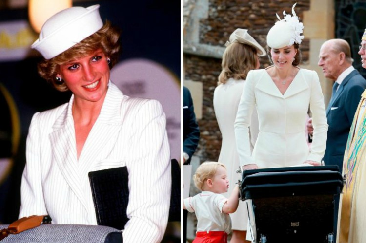 Image of Princess Diana and Kate Middleton wearing similar white outfit.