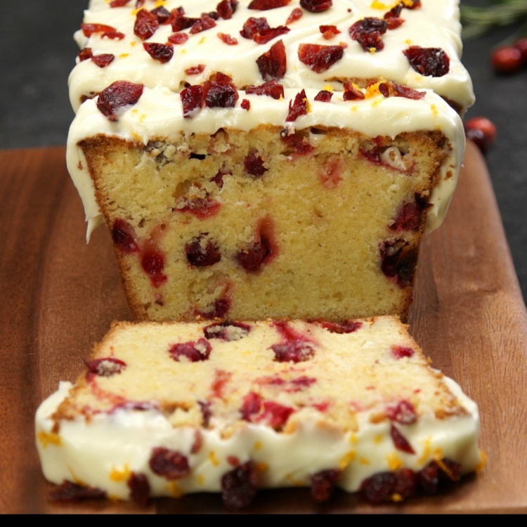 Pound cake made with fresh cranberries and orange zest