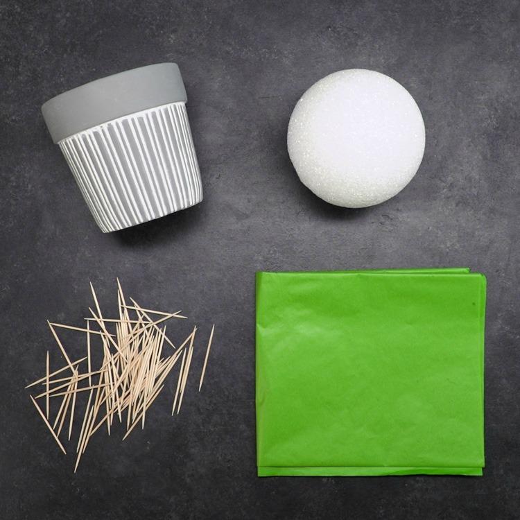 Flower pot, Styrofoam ball, toothpicks and green tissue paper for cupcake bouquet