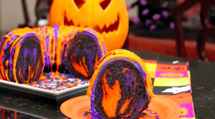 Halloween rainbow cake