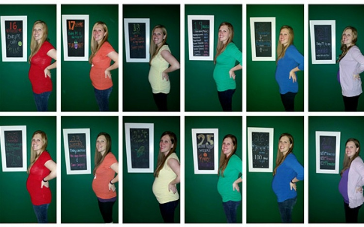 Cathy Matthew's pregnancy progression photos incorporated rainbow