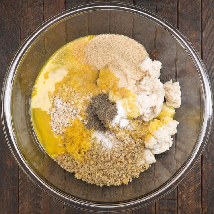 Vegetarian Mushroom Meatloaf bread crumbs ingredients in bowl