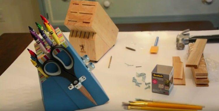 knife block organizer with scissor holder
