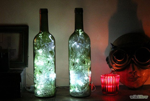 Fairy lights in bottles.