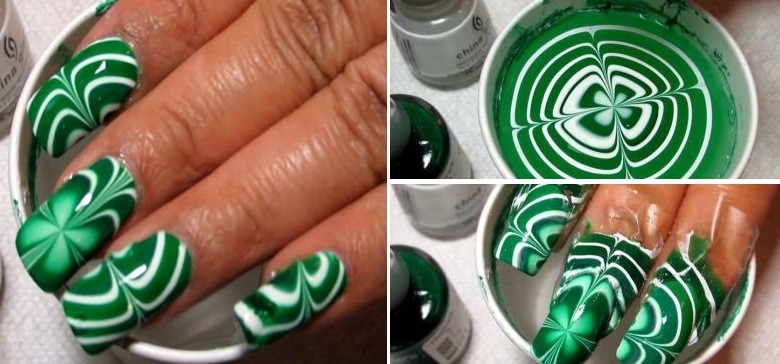 Simple St Patrick S Day Diy Water Marble Nail Art