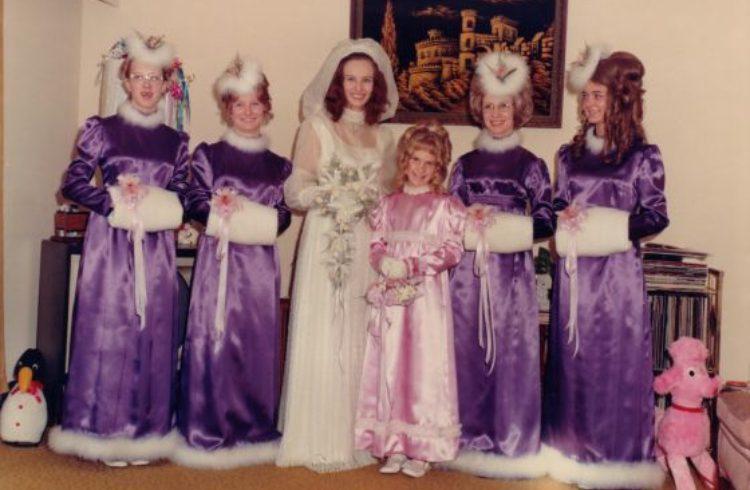 bridesmaid purple fur