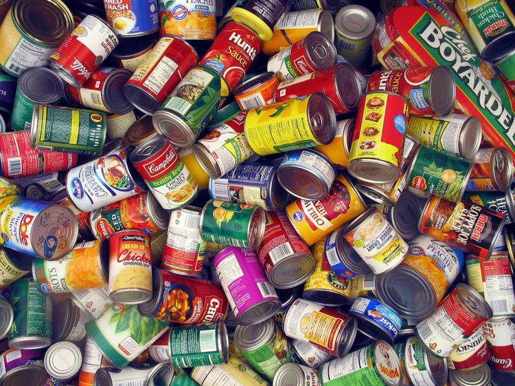 Pile of canned good.