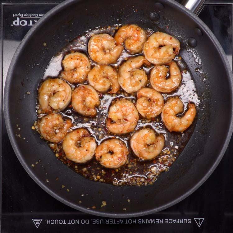 honey garlic shrimp in pan