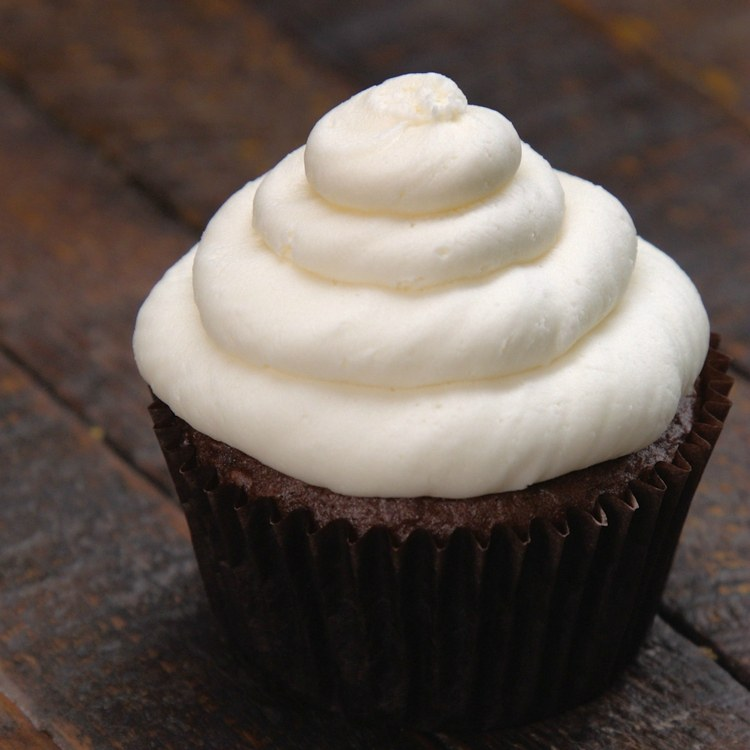 Swirl of buttercream frosting on chocolate cupcake