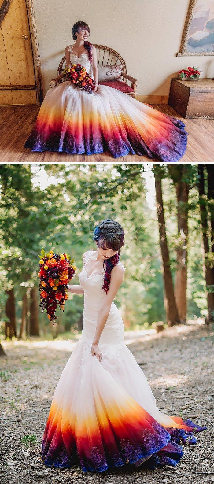 Dip-dyed purple dress.
