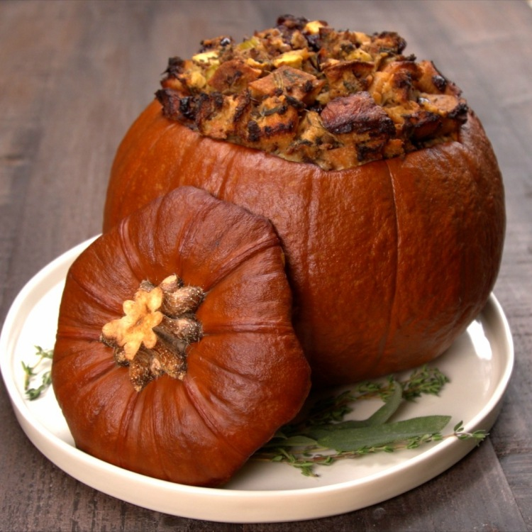 Roasted pumpkin stuffed with stuffing