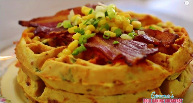 Bacon Cheddar Cornmeal Waffles