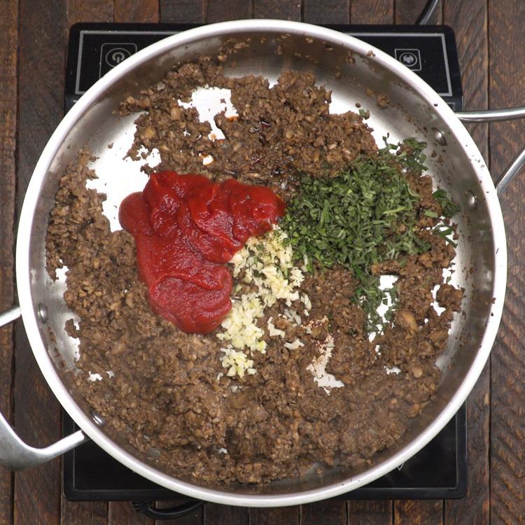 Vegetarian Mushroom Meatloaf ingredients in pot