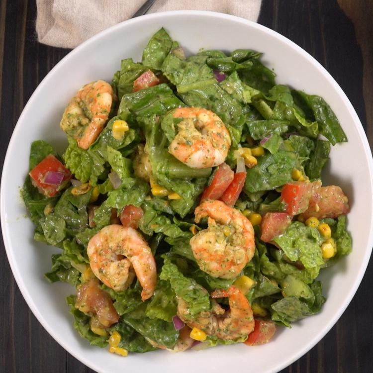Overhead Shrimp Avocado Salad