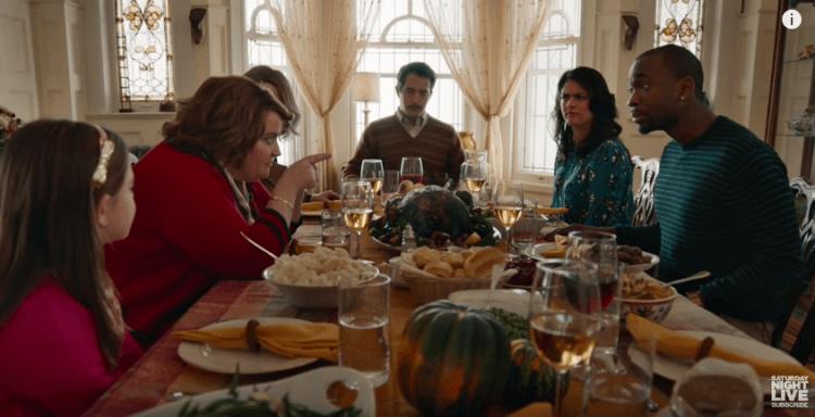 Family arguing on Thanksgiving