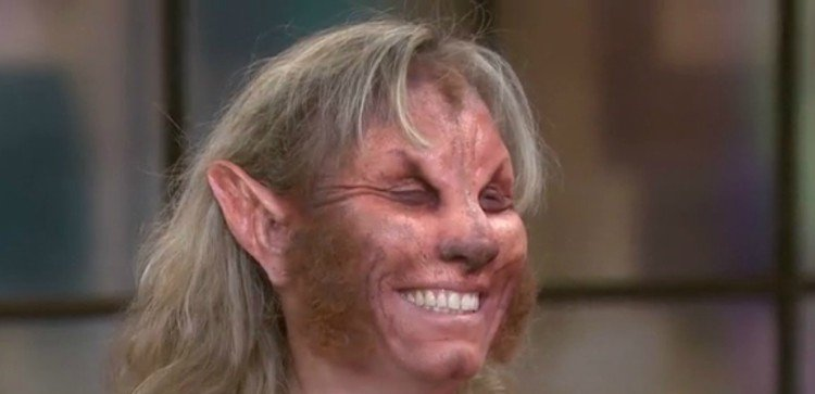 Image of mom made up like werewolf.
