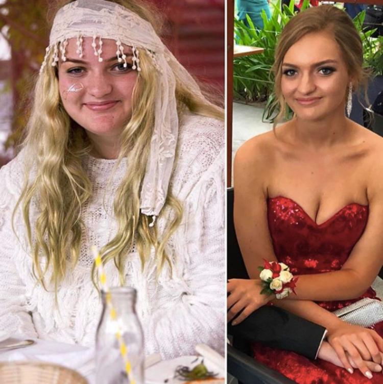 Split image of Josie Desgrand's weight loss