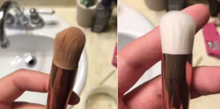 Image of before and after clean and dirty makeup brush