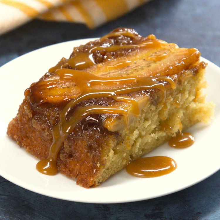 Piece of bananas foster upside-down cake