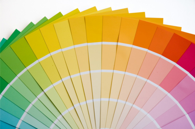 Fan of colored paint chips