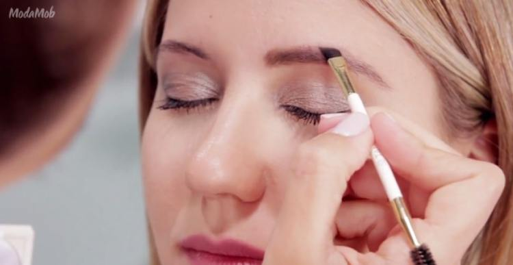 Brush hairs down and fill in top line of eyebrows