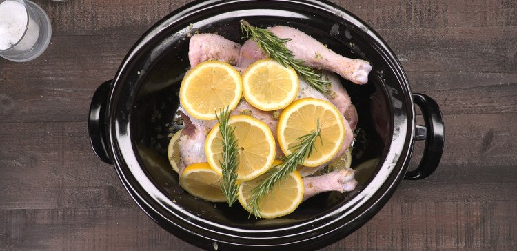 Slow Cooker Lemon Chicken with garlic and herbs in crockpot
