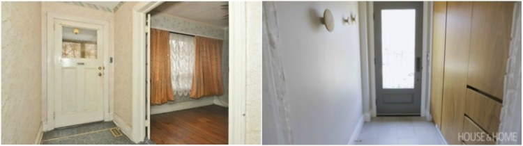 Before and after comparison of entryway renovation