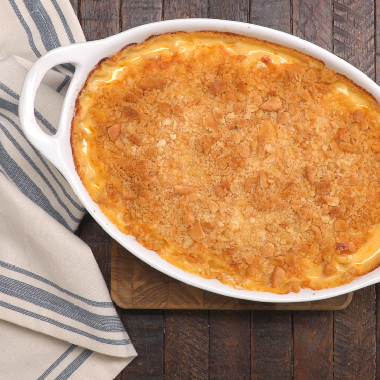 Baked Mac & Cheese finished casserole from above