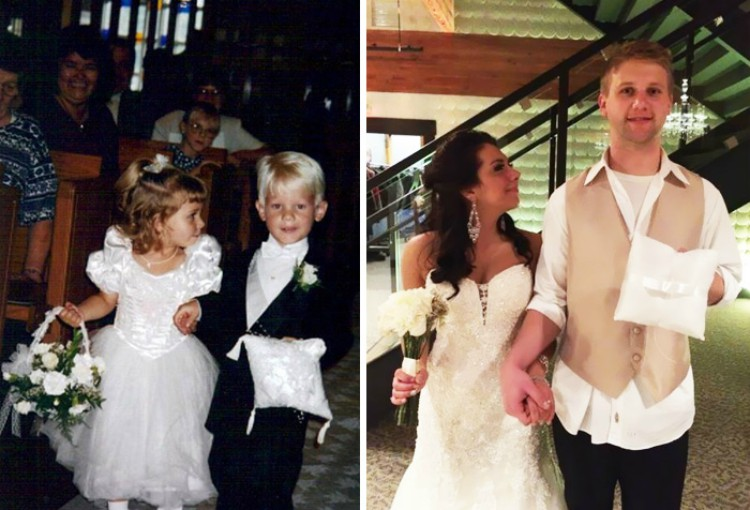Image of before and after of ring bearer and flower girl years later