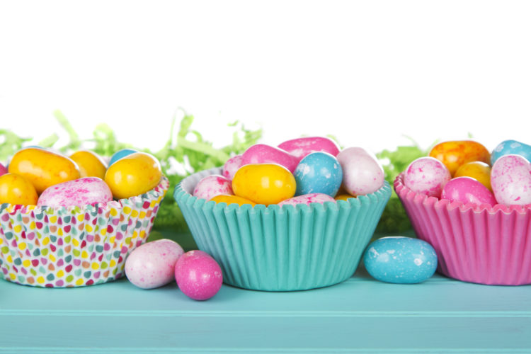 Image of Easter Candy in colorful cupcake wrappers