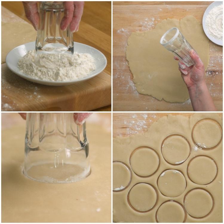 Use a water glass in cut circles in dough