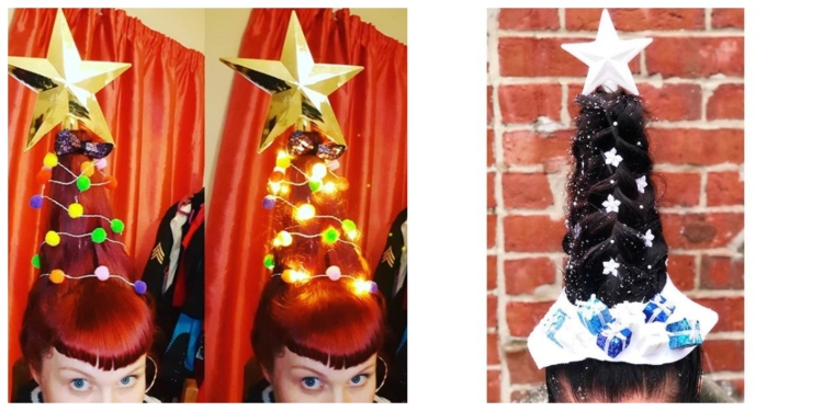 Image of Christmas tree hair.