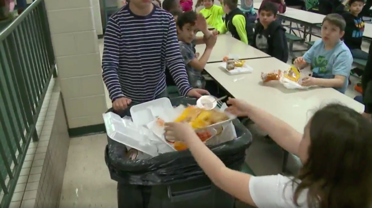 Image of kids throwing out food