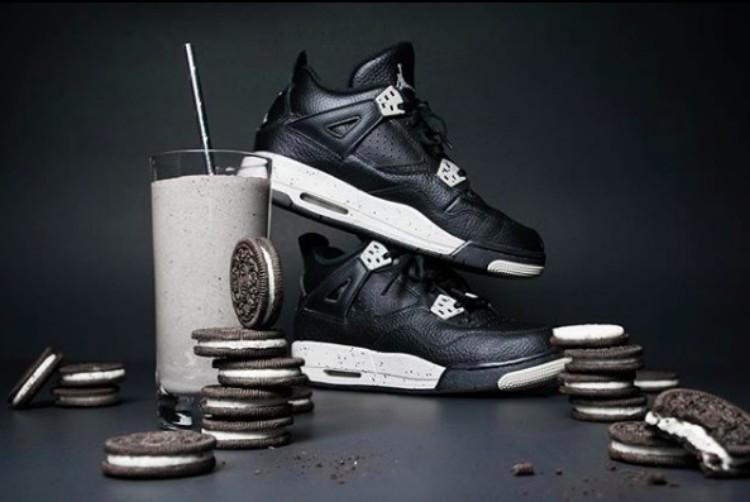 Image of black sneakers with oreos and milkshake
