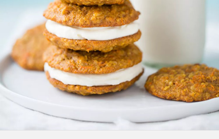 Stack of carrot cake whoppee pies.