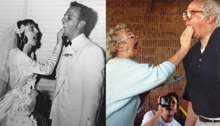 Image of grandparents then and now