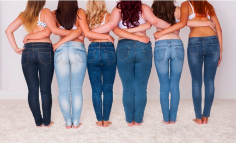 women with different shapes pose with their backs to camera