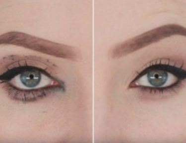 smudged eyeliner before and after