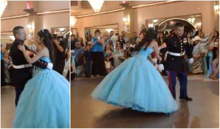 98e5c5e6f20 Marine Dad and Daughter Rock the Quinceañera Dance