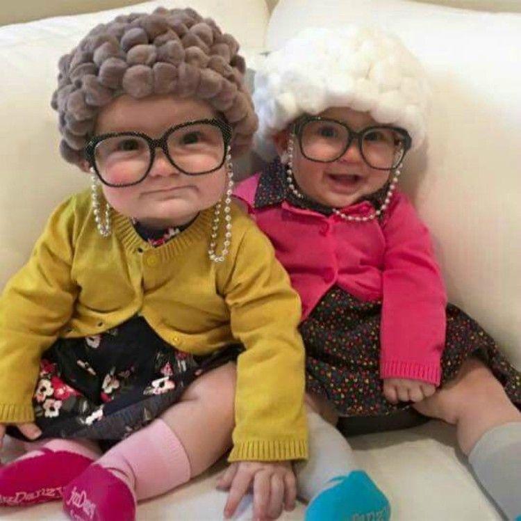 Image of babies dressed as old ladies.