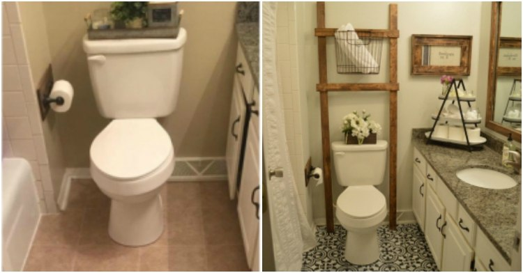 Before and After Bathroom Floor