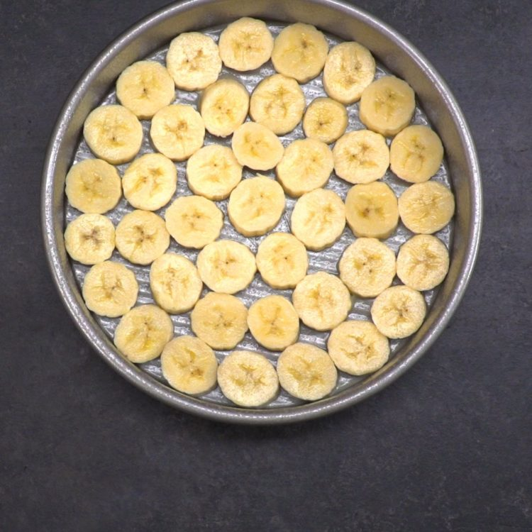Banana Coconut Upside Down Cake bananas in pan